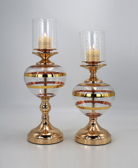glass with metal candle holder two size 90302