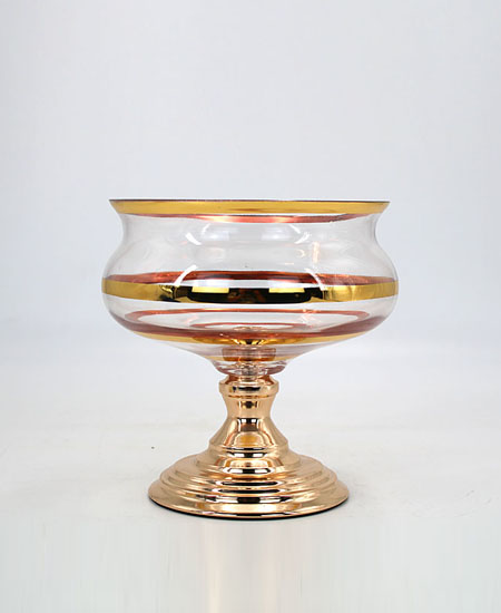 glass with metal fruit plate for home decoration 90307