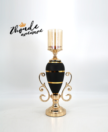 black glass with metal candle holder 90401