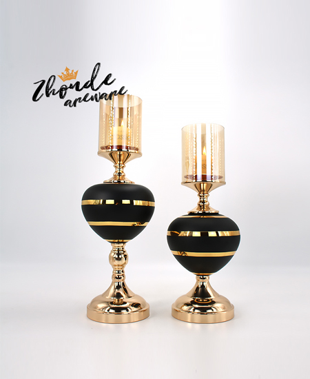 black glass with metal candle holder 90402