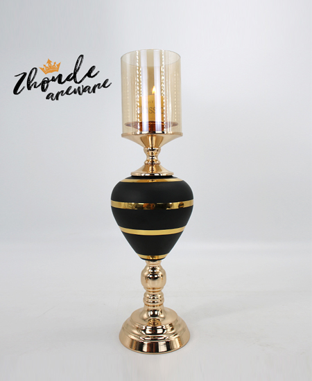 black glass with metal candle holder 90403
