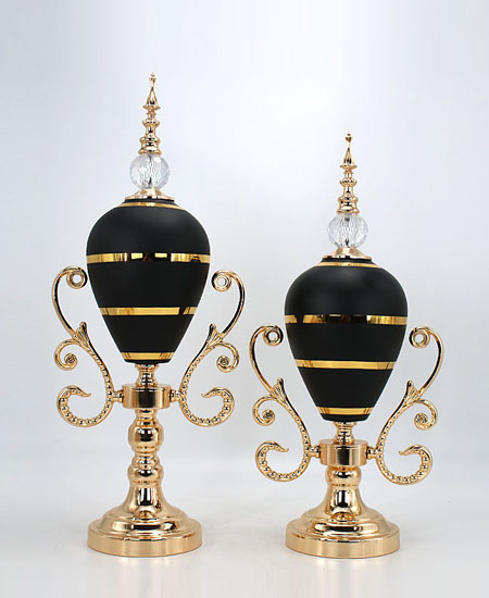 black glass with metal home decoration 90404