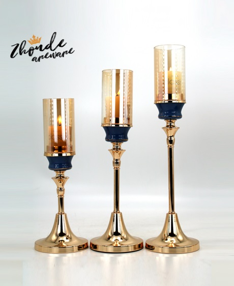 blue color ceramic and metal candle holder set with glass tube 90601