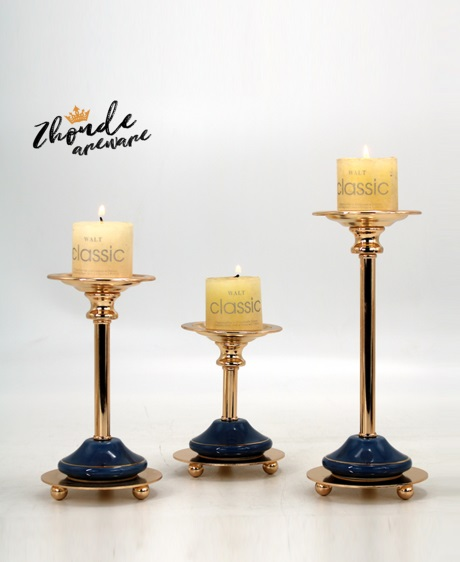 blue ceramic candle holder for decoration 90602