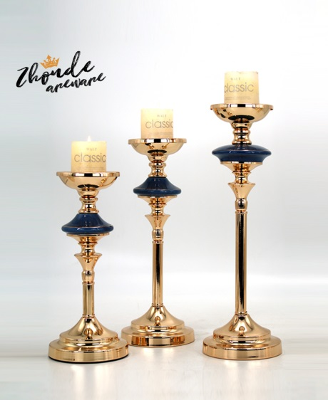 blue color ceramic candle holder set for decoration 90604