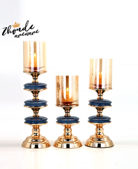 ceramic and metal candlestick china factory 90606
