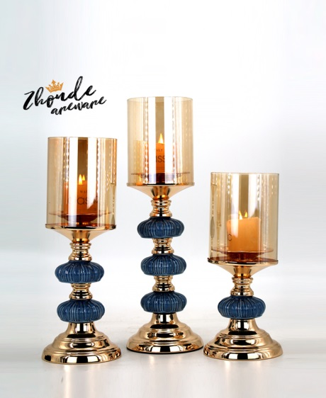 ceramic and metal candle holder set factory 90608