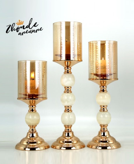 jade and metal candle holder  for decoration 90701