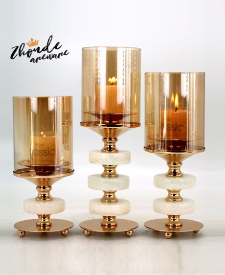 jade and metal candle holder for home decoration 90703