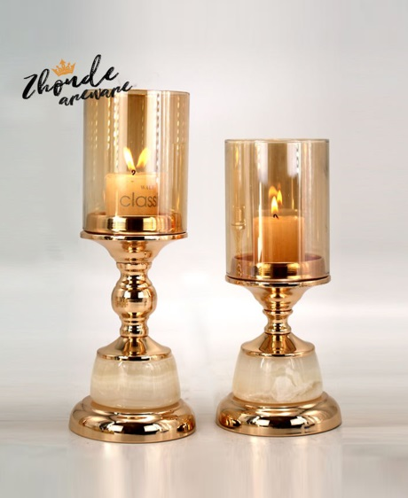 jade and metal candle holder for home decoration 90704