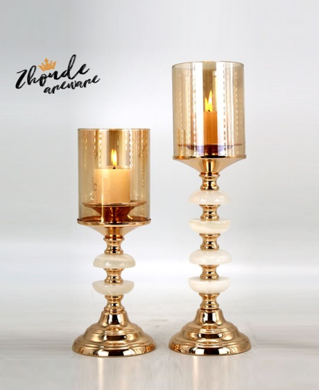 jade and metal candle holder for home decoration 90705
