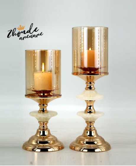 jade and metal candle holder for home decoration 90706