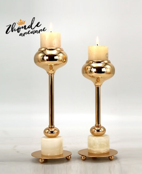 jade and metal candle holder for home decoration 90707