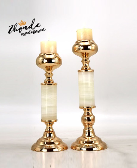 jade candle holder with golden metal base 90708