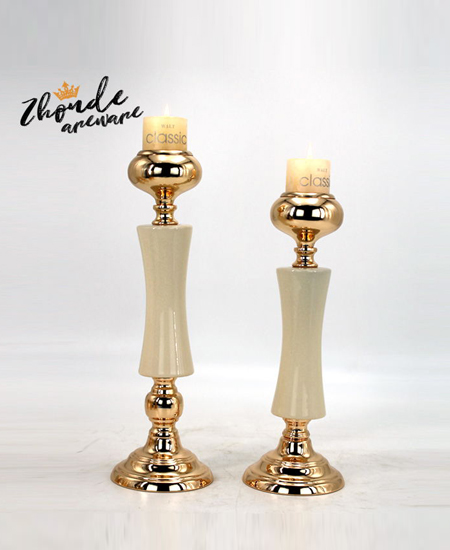 WHITE CERAMIC AND METAL CANDLE HOLDER 90501