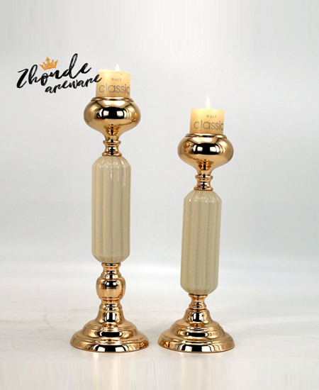 CERAMIC AND METAL CANDLESTICK DECOR 90502