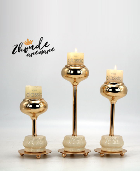 CERAMIC AND METAL CANDLE HOLDER 90503