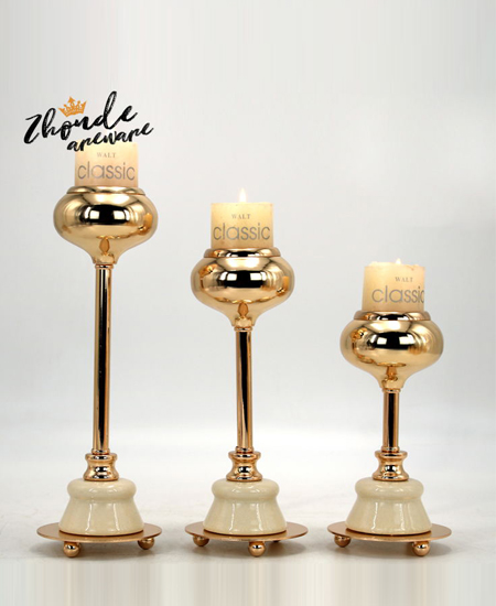 HIGH QUALITY WHITE CERAMIC AND METAL CANDLE HOLDER 90505