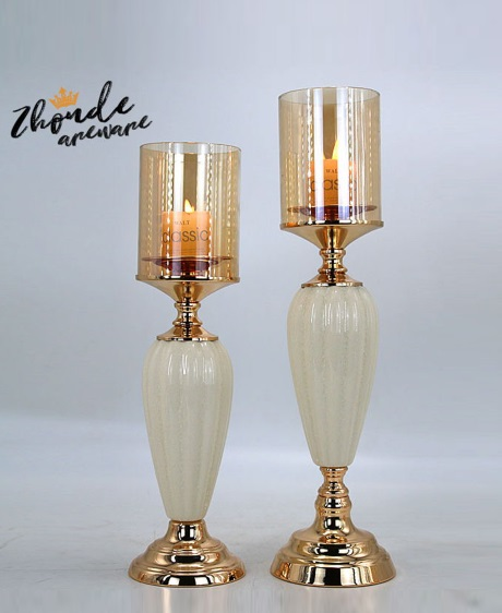 CERAMIC AND METAL CANDLE HOLDER 90509