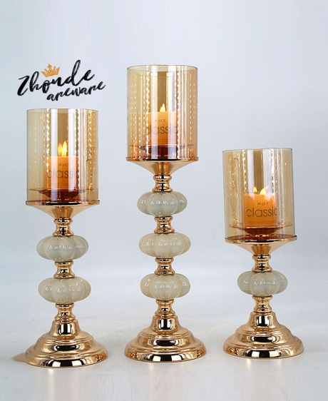 CERAMIC AND METAL CANDLE HOLDER 90512