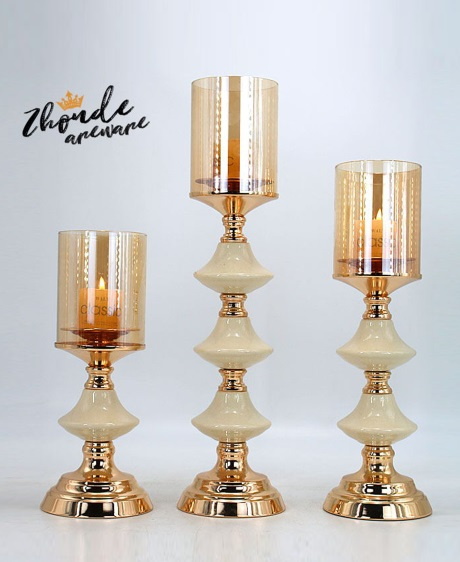 CERAMIC AND METAL CANDLE HOLDER 90514