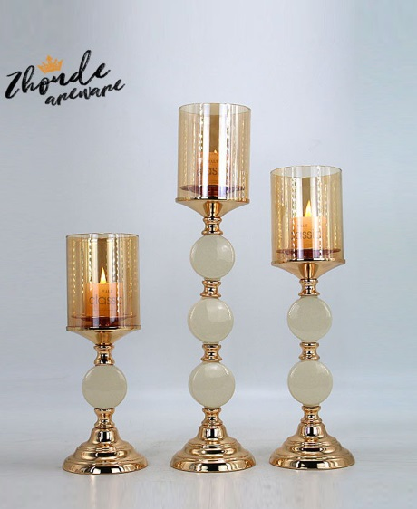 CERAMIC AND METAL CANDLE HOLDER 90515