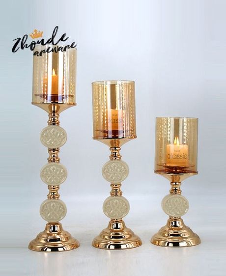 CERAMIC AND METAL CANDLE HOLDER 90516