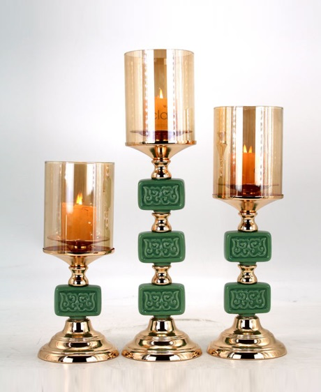 CERAMIC AND METAL CANDLE HOLDER 90519