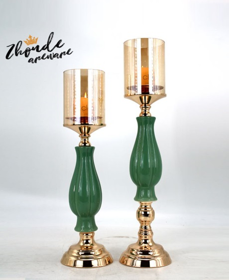 CERAMIC AND METAL CANDLE HOLDER 90520