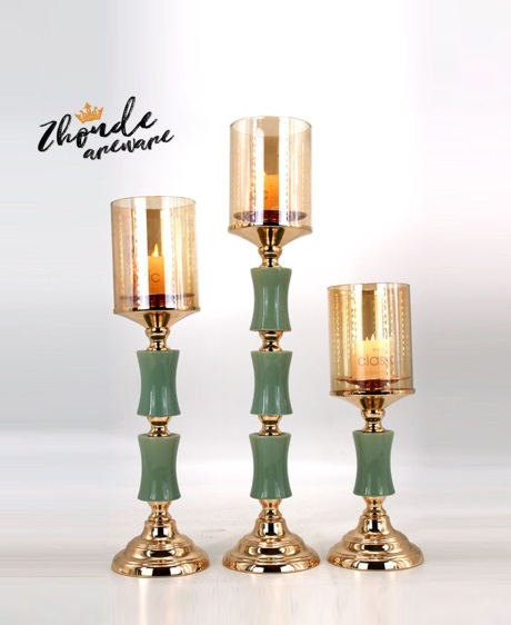 CERAMIC AND METAL CANDLE HOLDER 90524