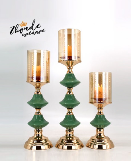 CERAMIC AND METAL CANDLE HOLDER 90526
