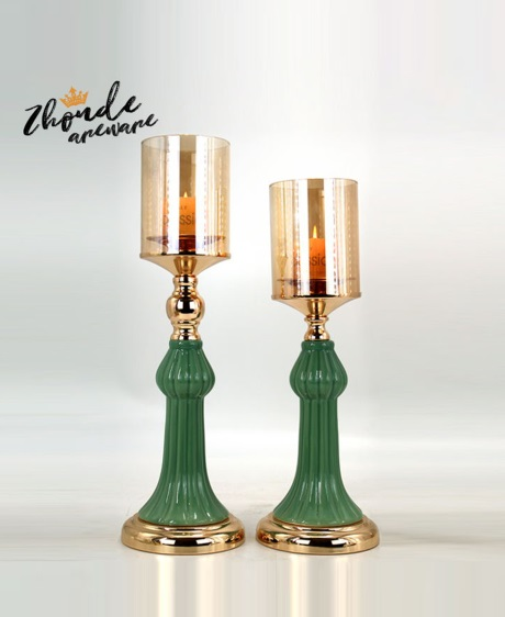 CERAMIC AND METAL CANDLE HOLDER 90527