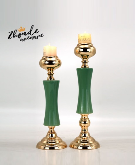 CERAMIC AND METAL CANDLE HOLDER 90534