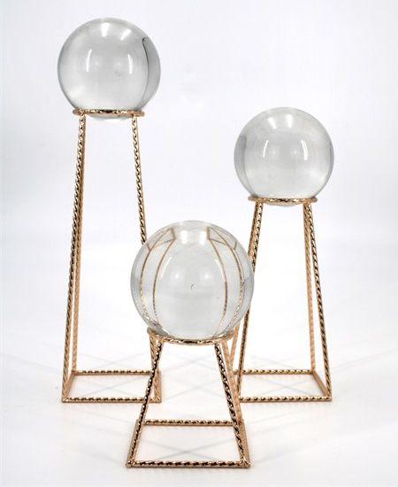 GOLDEN METAL DECORATION WITH CRSTAL BALL 91365