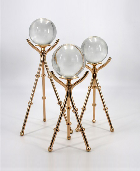 GOLDEN METAL DECORATION WITH CRSTAL BALL 91367