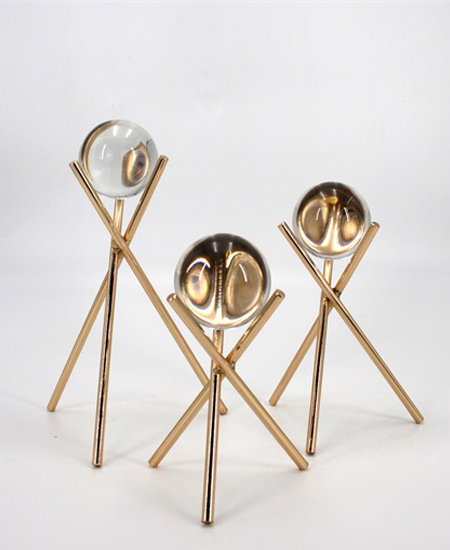 GOLDEN METAL DECORATION WITH CRSTAL BALL 91371