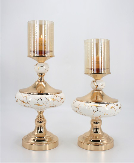 CERAMIC AND METAL CANDLE HOLDER 90908