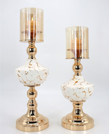 CERAMIC AND METAL CANDLE HOLDER 90909