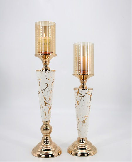 CERAMIC AND METAL CANDLE HOLDER 90912