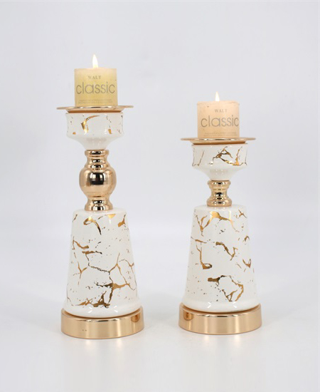 CERAMIC AND METAL CANDLE HOLDER 90918