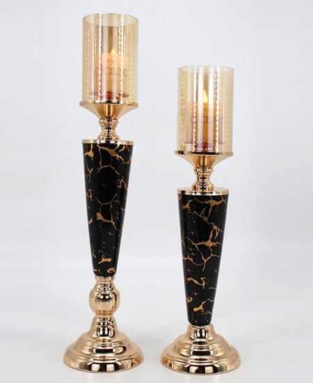 CERAMIC AND METAL CANDLE HOLDER 91113