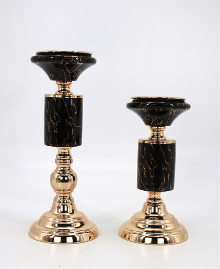 CERAMIC AND METAL CANDLE HOLDER 91120