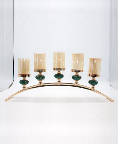 CERAMIC AND METAL CANDLE HOLDER 90802