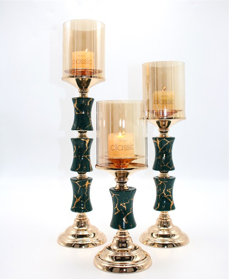 CERAMIC AND METAL CANDLE HOLDER 90806