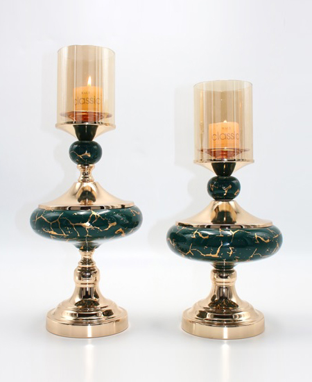 CERAMIC AND METAL CANDLE HOLDER 90807