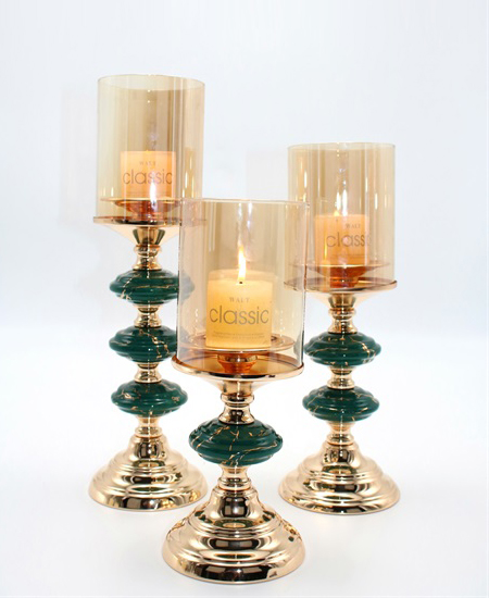 CERAMIC AND METAL CANDLE HOLDER 90812