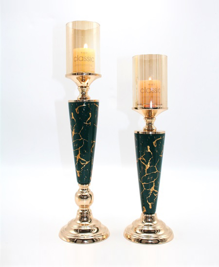 CERAMIC AND METAL CANDLE HOLDER 90813