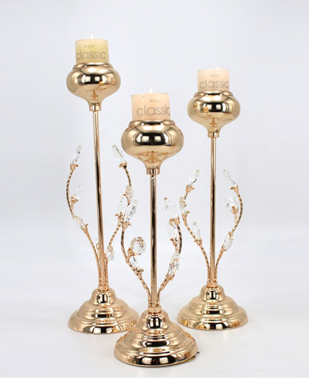 gold crystal candelabra New Year Party Pillar Candle Holder Gold 89911