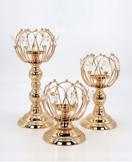 New design gold crystal Unique candle holder 89918