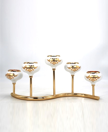 WHITE AND GOLD METAL CANDLE HOLDER 5536GB